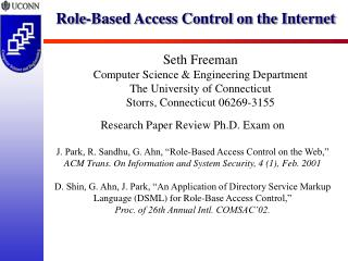 Role-Based Access Control on the Internet
