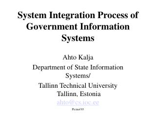 System Integration Process of Government Information Systems