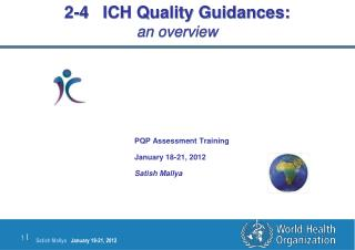 2-4   ICH Quality  Guidances : an overview