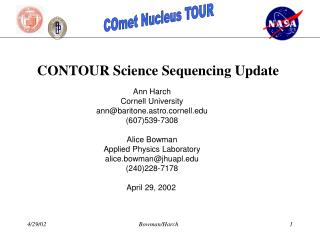 CONTOUR Science Sequencing Update