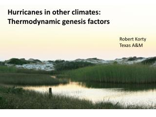 Hurricanes in other climates: Thermodynamic genesis factors