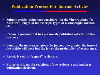 Publication Process For Journal Articles