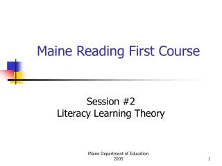 Maine Reading First Course