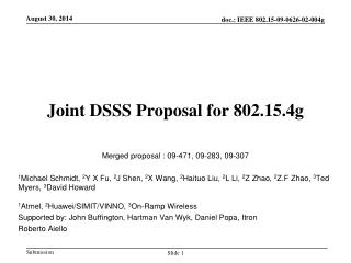 Joint DSSS Proposal for 802.15.4g