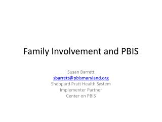 Family Involvement and PBIS