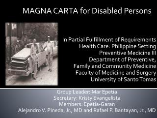 MAGNA CARTA for Disabled Persons In Partial Fulfillment of Requirements