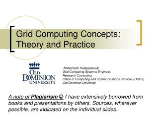 Grid Computing Concepts: Theory and Practice