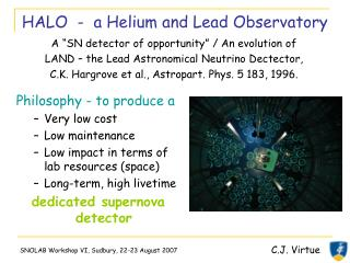 HALO  -  a Helium and Lead Observatory