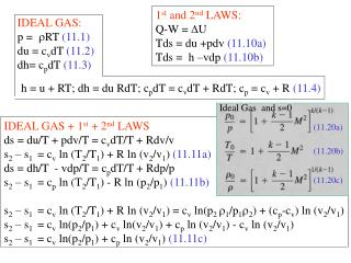 IDEAL GAS: p =  RT  (11.1) du = c v dT  (11.2) dh= c p dT  (11.3)