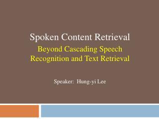 Speaker:  Hung-yi Lee