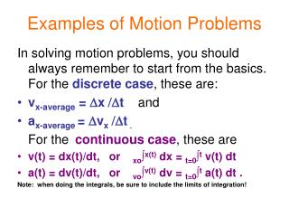 Examples of Motion Problems