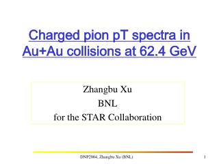 Charged pion pT spectra in Au+Au collisions at 62.4 GeV