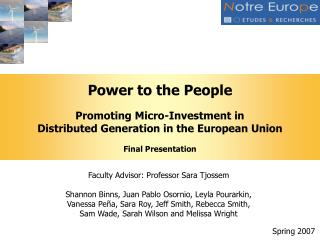 Power to the People Promoting Micro-Investment in  Distributed Generation in the European Union