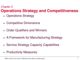 Chapter 2 Operations Strategy and Competitiveness