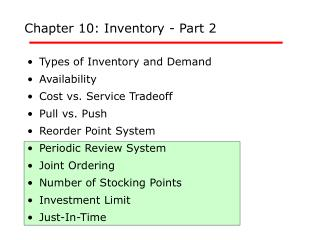 Chapter 10: Inventory - Part 2