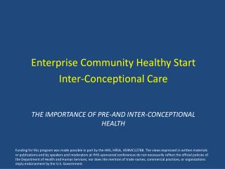 The Importance of Pre-And Inter- Conceptional   Health