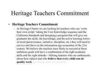 Heritage Teachers Commitment