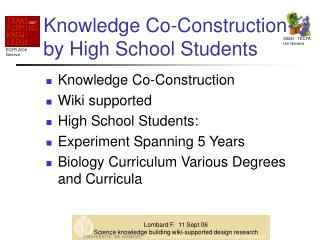 Knowledge Co-Construction by High School Students