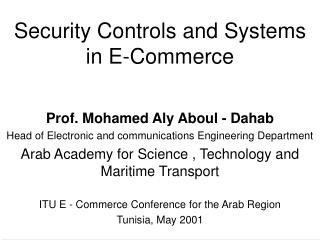 Security Controls and Systems in E-Commerce