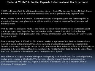 Cantor & Webb P.A. Further Expands Its International Tax Dep
