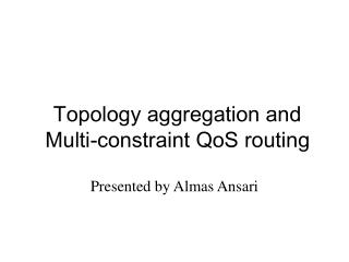 Topology aggregation and Multi-constraint QoS routing