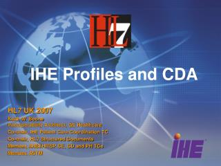 IHE Profiles and CDA