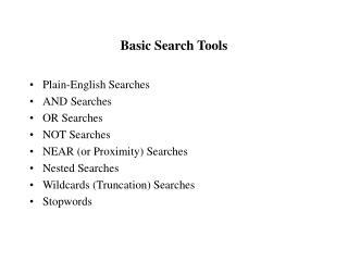 Basic Search Tools