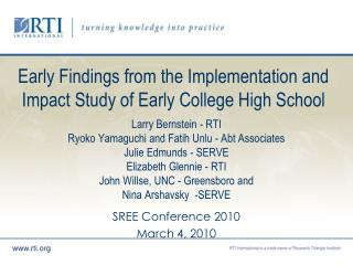 Early Findings from the Implementation and Impact Study of Early College High School