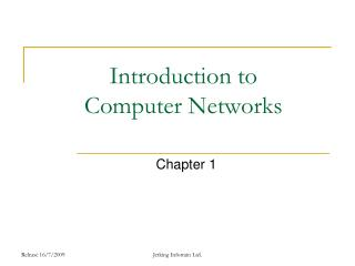 Introduction to  Computer Networks