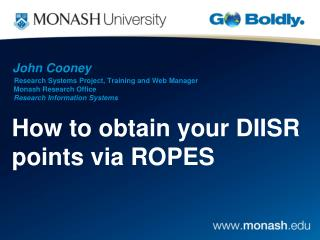 How to obtain your DIISR points via ROPES