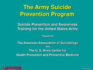 The Army Suicide Prevention Program