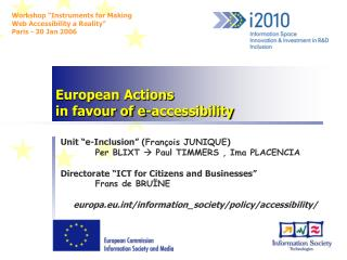 European Actions  in favour of e-accessibility