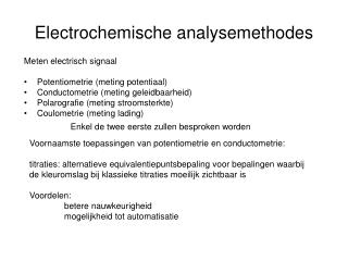 Electrochemische analysemethodes