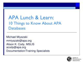 APA Lunch & Learn:  10 Things to Know About APA Databases