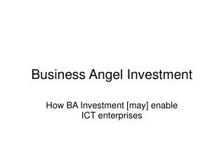 Business Angel Investment