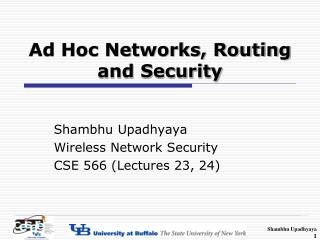 Ad Hoc Networks, Routing and Security