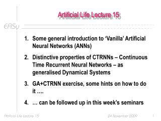 Artificial Life Lecture 15