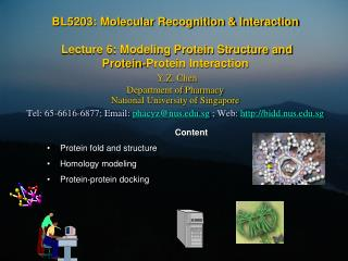 Content Protein fold and structure Homology modeling Protein-protein docking
