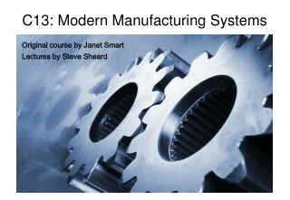 History of Manufacturing  Intro to Modern Manufacturing