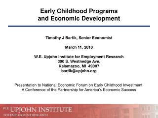 Early Childhood Programs and Economic Development