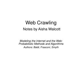 Web Crawling Notes by Aisha Walcott