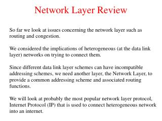 Network Layer Review