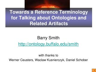 Towards a Reference Terminology for Talking about Ontologies and Related Artifacts