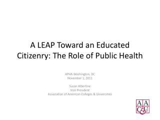 A LEAP Toward an Educated Citizenry: The Role of Public Health