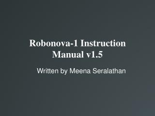 Robonova-1 Instruction Manual v1.5