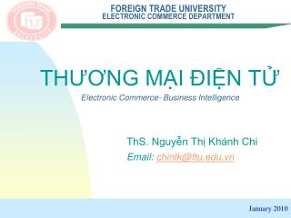 FOREIGN TRADE UNIVERSITY ELECTRONIC COMMERCE DEPARTMENT