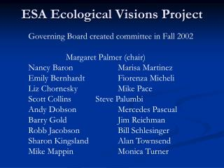 ESA Ecological Visions Project