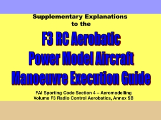 F3 RC Aerobatic Power Model Aircraft Manoeuvre Execution Guide