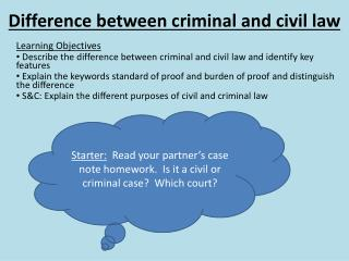 Difference between criminal and civil law