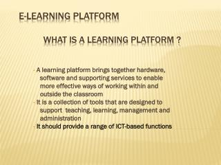 e-Learning Platform what is a Learning Platform ?